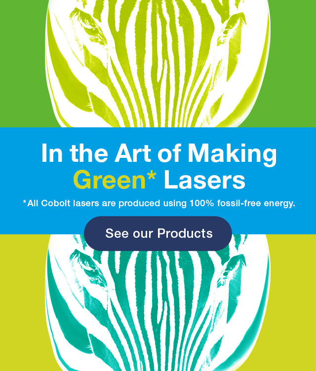 """Two zebras in blue and green colors, with the text """"In the Art of Making Green* Lasers"""""""